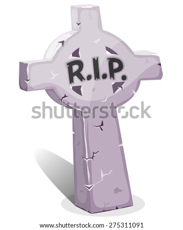 Cartoon Christian Tombstone With RIP. Illustration of a funny cartoon Halloween christian tombstone for graveyard landscape with rest in peace inscription - stock vector