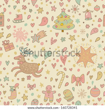 Cartoon Christmas and New Year holiday seamless pattern in vector. Funny holiday elements: stars, trees, hearts, bell, cookie, candies, deer, gifts and others
