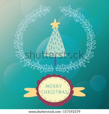 Cartoon Christmas and New Year vector card on bokeh background