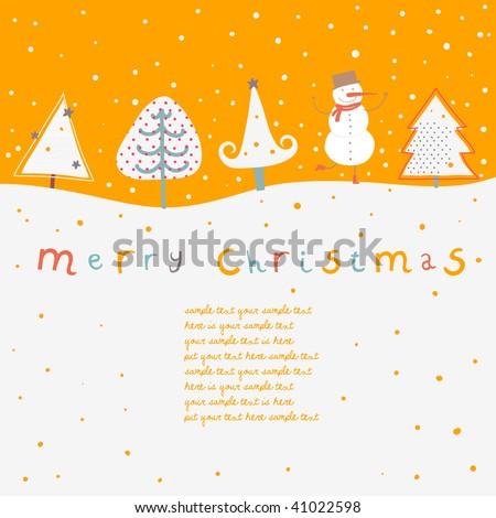 Cartoon Christmas card - stock vector