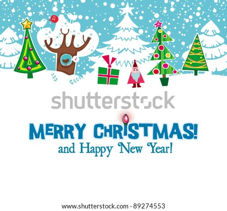 Cartoon Christmas card. Xmas fir trees, presents, snowflakes. Holiday series - stock vector