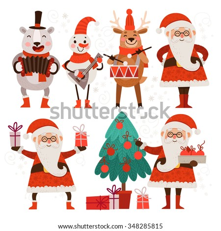 Cartoon Christmas characters dance and sing. Set of stylish cute characters for Christmas. Santa Claus, a polar bear, snowman and reindeer. Santa Claus with gifts and a Christmas fir. - stock vector
