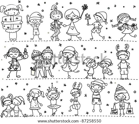 Cartoon Christmas children - stock vector