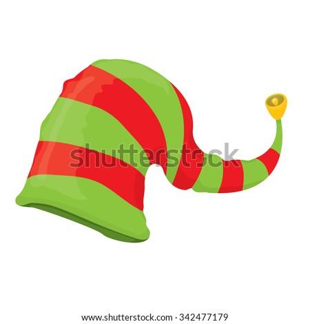 cartoon christmas elf hat isolated on white. vector illustration - stock vector