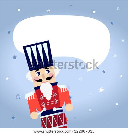 Cartoon christmas Nutcracker with blank speech bubble - stock vector