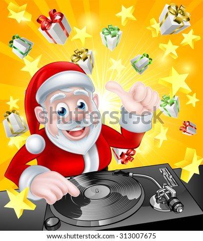 Cartoon Christmas Santa Claus DJ at the record decks with Christmas gift presents and stars in the background - stock vector