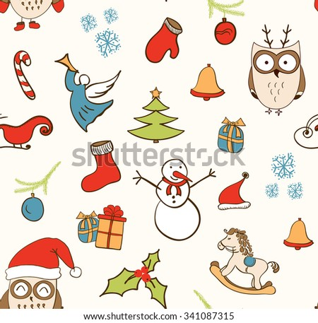 Cartoon Christmas seamless pattern with snowman, owls, gift boxes and other elements. Seamless pattern can be used for wallpapers, web page backgrounds. - stock vector