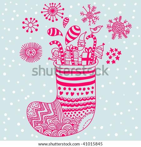 Cartoon Christmas sock - stock vector