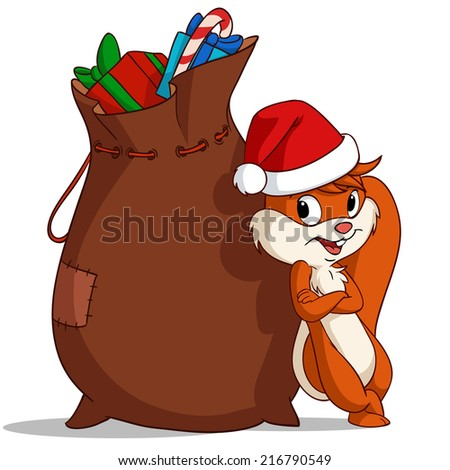 Cartoon christmas squirrel with bag of gift. Vector illustration.