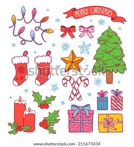 Cartoon Christmas Symbols Collection Presents Ribbons Stock Vector ...