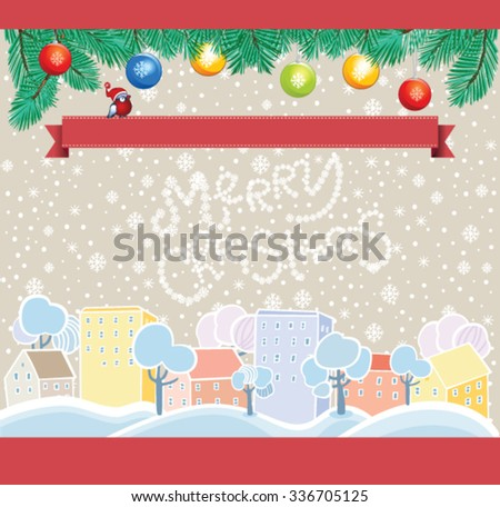Cartoon Christmas Template, winter town background - stock vector