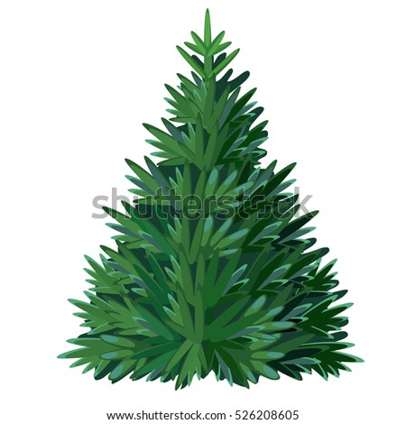 Cartoon Christmas tree isolated on white background. Vector illustration.