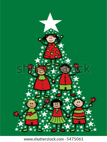 cartoon christmas tree kids (vector) - stock vector
