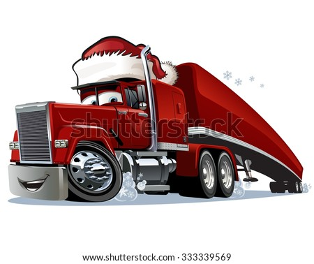 Cartoon Christmas truck isolated on white background. Available EPS-10 format separated by groups and layers for easy edit - stock vector