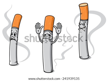 Cartoon cigarettes with orange filters and plums of smoke with sad emotions for healthcare concept and prohibitory sign - stock vector
