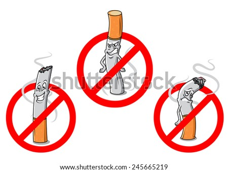 Cartoon cigarettes with red no smoking signs for public prohibitory warnings and healthcare design - stock vector