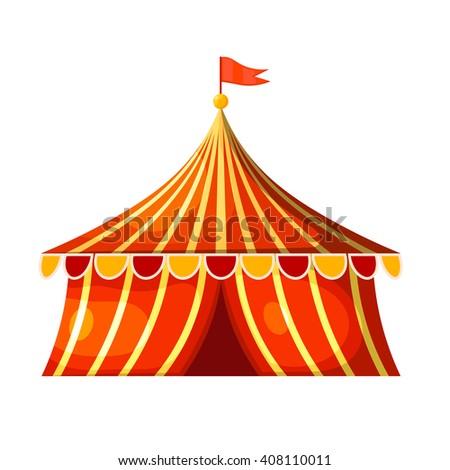Cartoon circus marquee tent. Vector illustration - stock vector