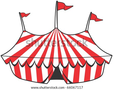 cartoon circus tent with stripes and flags isolated.  Ideal for carnival signs - stock vector