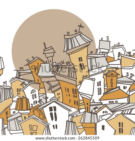 Cartoon city. Abstract image of houses. Vector illustration. Greeting card. - stock vector
