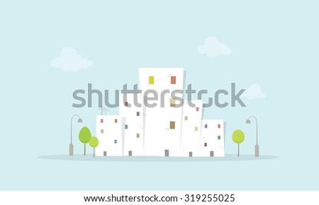 Cartoon City Landscape - stock vector
