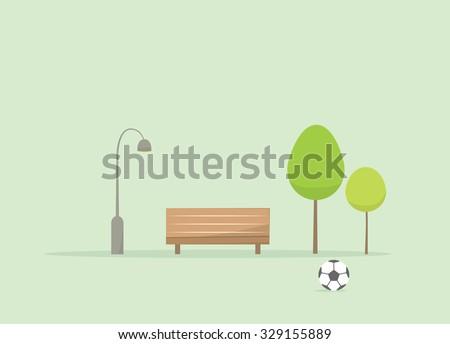 Cartoon city park with soccer ball - stock vector