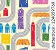 Cartoon city vector pattern - stock photo