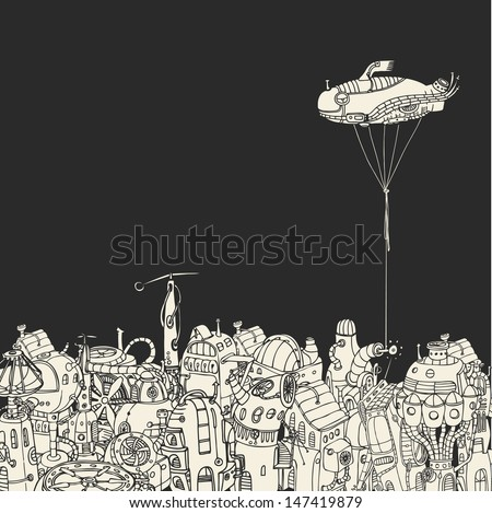 Cartoon City with Fish Eye Zeppelin - stock vector