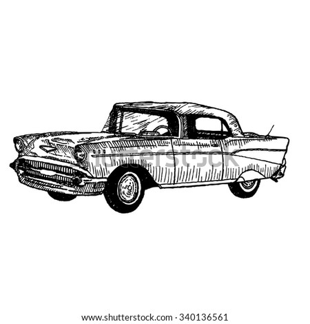 cartoon classic cars in  doodle style isolated on white background