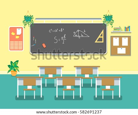 Cartoon classroom design interior school college image for Decorate my flat