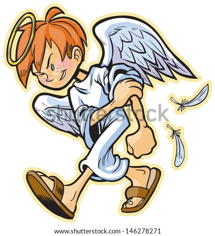 cartoon clip art of a scrappy angel with red hair headed for a fight! Evil's gonna get a beat-down! Hair color is easily changed in the vector file, freckles are removable. Makes a great mascot! - stock vector