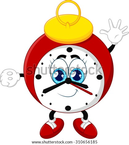 Cartoon clock waving hand on white background - stock vector