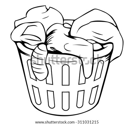 Laundry basket stock vectors vector clip art shutterstock for Laundry coloring pages