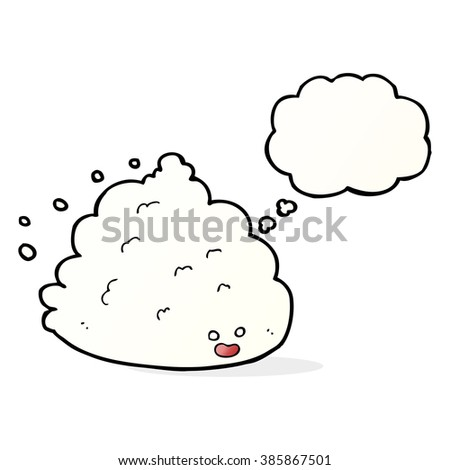 cartoon cloud character with thought bubble - stock vector