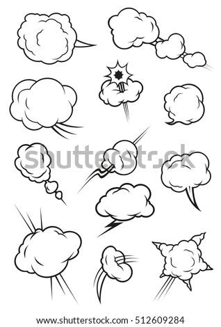 Cartoon Cloud Icons Comic Book Style Stock Photo Photo Vector
