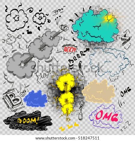 Cartoon Cloud Icons Comic Book Style Stock Vector 518247511