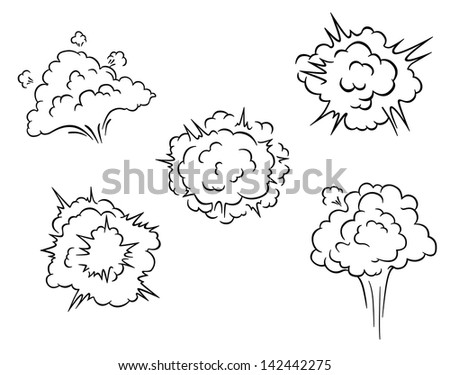 Cartoon clouds and explosions set for comics or another design. Jpeg version also available in gallery  - stock vector