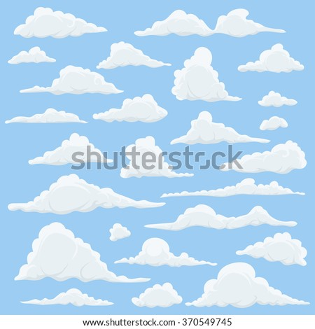 Cartoon Clouds Set On Blue Sky Background. Set of funny cartoon clouds, smoke patterns and fog icons, for filling your sky scenes or ui games backgrounds. Vector - stock vector