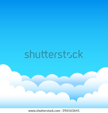 Cartoon cloudy background on blue sky. Gradient clouds and space for text on top of the background of the sky - stock vector