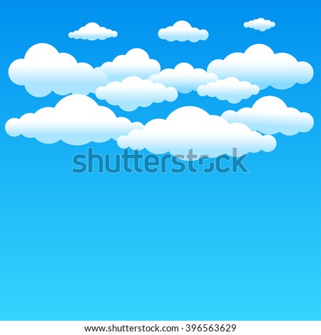 Cartoon cloudy background on blue sky. Simple gradient clouds and place for text on sky background - stock vector
