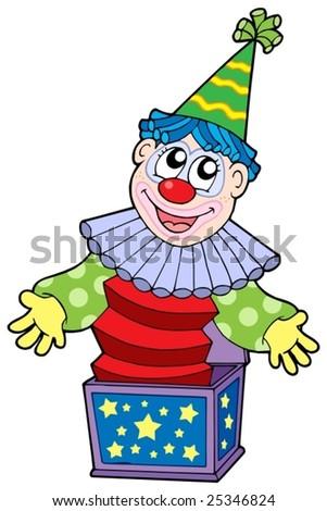 Cartoon clown in box - vector illustration. - stock vector