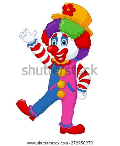 Cartoon clown waving hand - stock vector