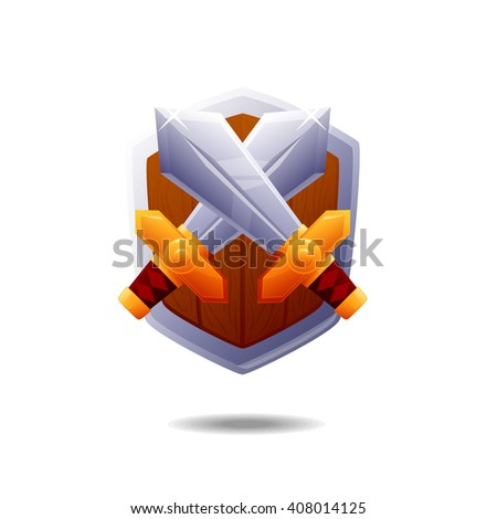 Cartoon coat of arms with swords and shield vector illustration - stock vector