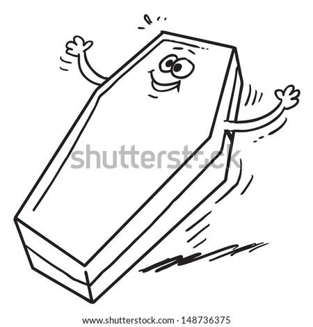 Cartoon coffin - stock vector
