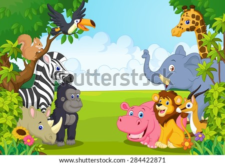 Cartoon collection animal in the jungle - stock vector
