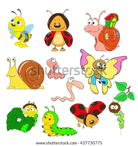 Cartoon collection of characters. Insects vector. Snail, caterpillar, worm, beetle, ladybug, bee.