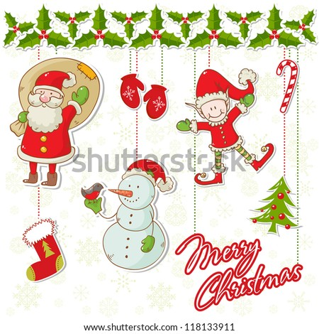 Cartoon collection of christmas characters and elements with holly garland and snowflakes background - stock vector