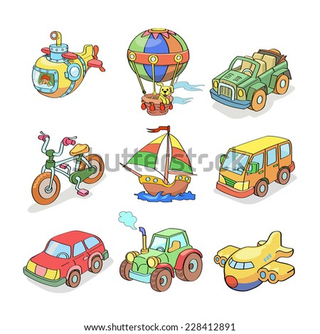 Cartoon collection of Transportation- Colored - stock vector