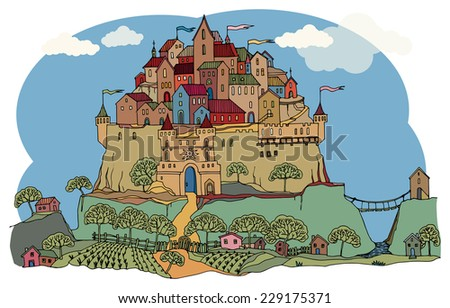 Cartoon color castle - stock vector