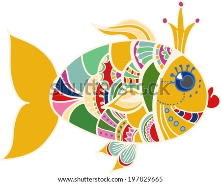 Cartoon color gold fish over white, beautiful illustration, VECTOR - stock vector