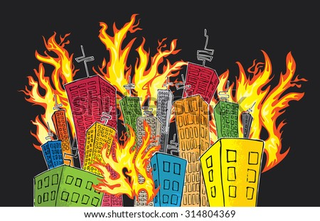cartoon colored city of skyscrapers catching fire - stock vector